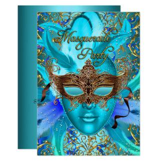 Invitation turquoise de partie de mascarade de