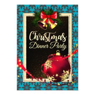 Invitation turquoise élégant de dîner de Noël de