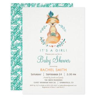 Invitation turquoise et orange de baby shower de