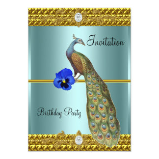 Invitation unique et élégante d'or et de paon