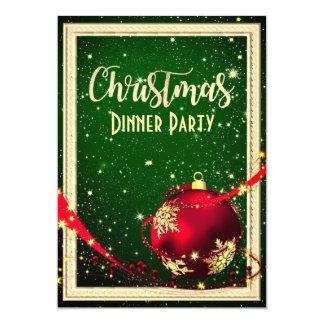 Invitation vert-foncé et rouge de dîner de Noël