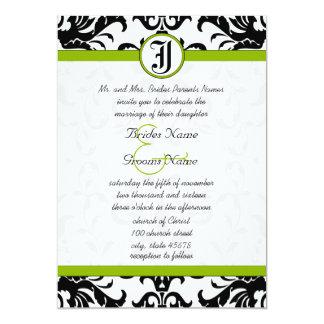 Invitation vert pomme et noire de mariage damassé