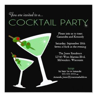 Invitation verte de cocktail de Martini Carton D'invitation 13,33 Cm