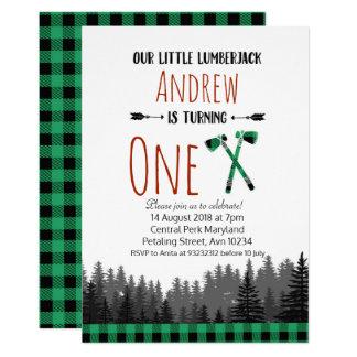 Invitation verte de région boisée d'anniversaire