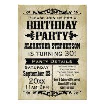 Invitation vintage d'autrefois de fête d'anniversa