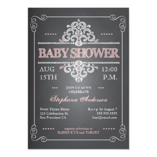 Invitation vintage de baby shower de fille de