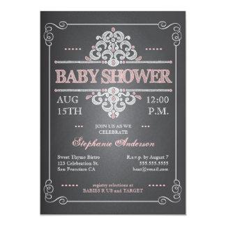 Invitation vintage de baby shower de fille de