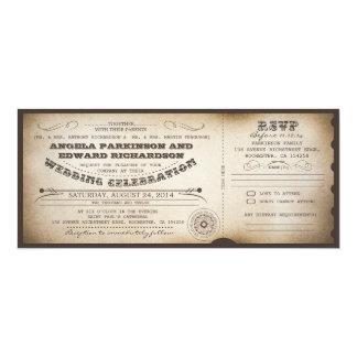 invitation vintage de billet de mariage avec la