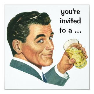 Invitation vintage de fête d'anniversaire de mâle