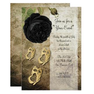 Invitation vintage de la partie | de rose de noir