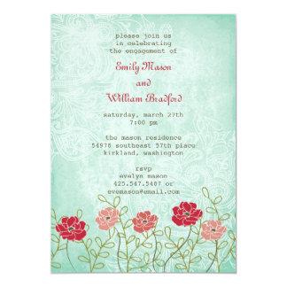 Invitation vintage florale et de feuille (5x7)