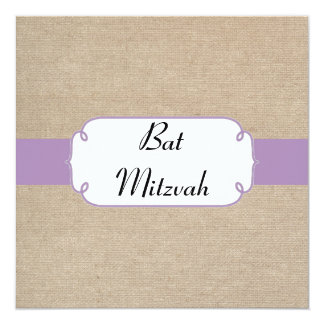 Invitation violet et beige vintage de bat mitzvah