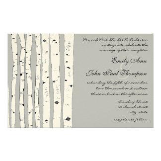 Invitations argentées de mariage d'arbre de papeterie
