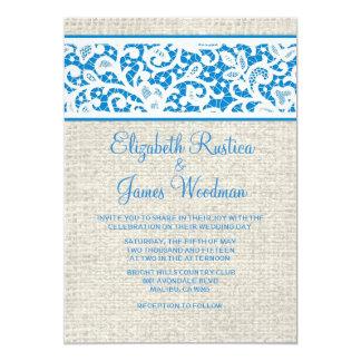 Invitations blanches bleues de mariage de dentelle