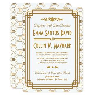 Invitations blanches de mariage d'art déco