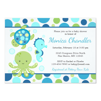 Invitations bleues de baby shower de mer