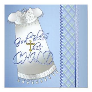 Invitations bleues de baptême de robe de garçons