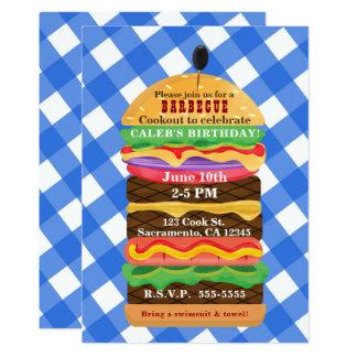 Invitations bleues de barbecue de barbecue d'été