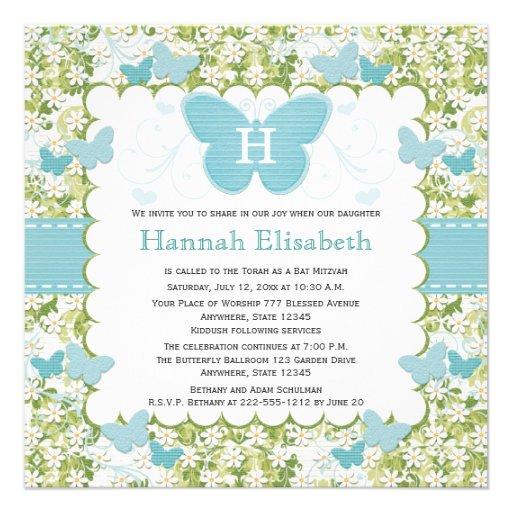 Invitations bleues de bat mitzvah de papillon déco