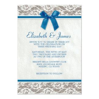 Invitations bleues de mariage de dentelle de pays