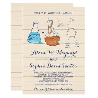 Invitations bleues et oranges de mariage de chimie
