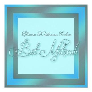 Invitations bleues turquoises de bat mitzvah