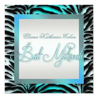 Invitations bleues turquoises de bat mitzvah de