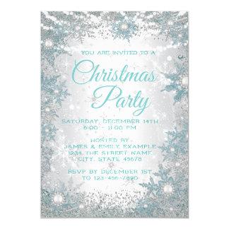 Invitations bleues turquoises de fête de Noël de