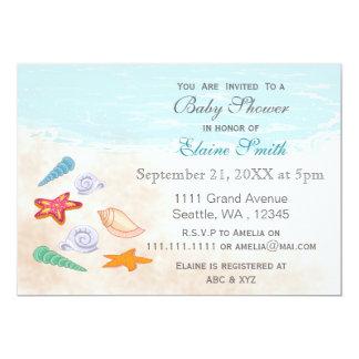 Invitations bleus de baby shower de plage d'océan