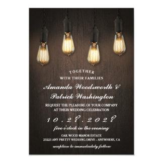Invitations chics de mariage de lumières rustiques