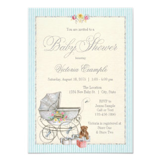 Invitations chics minables vintages de baby shower