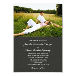 Invitations classiques de photo de mariage damassé