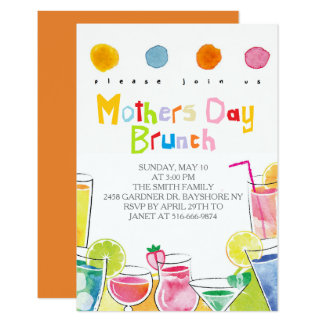 Invitations colorés de brunch de jour de mères
