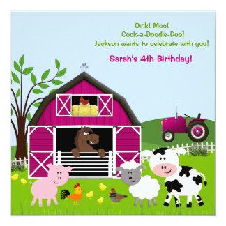 Invitations d'anniversaire d'animaux de ferme de