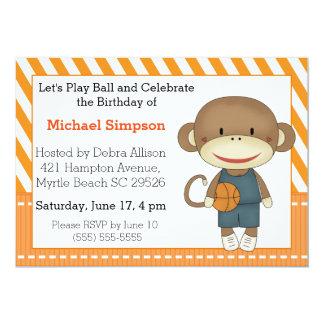 Invitations d'anniversaire de basket-ball de singe
