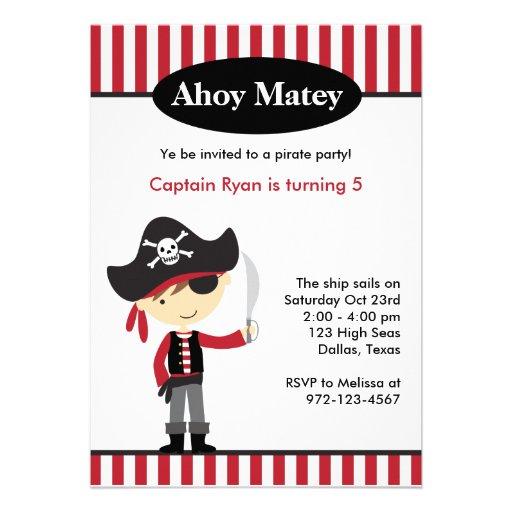 Invitations d 39 anniversaire de gar on de pirate carton d 39 invitation 12 7 cm x 17 78 cm zazzle - Invitation anniversaire garcon pirate ...