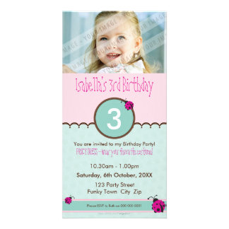 INVITATIONS D'ANNIVERSAIRE DE PHOTO : : coccinelle Cartes Avec Photo