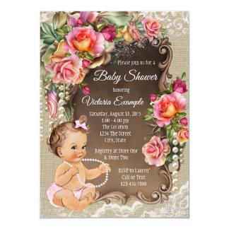 Invitations de baby shower de dentelle de toile de