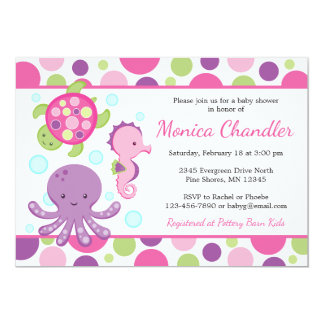 Invitations de baby shower de fille de rose de mer