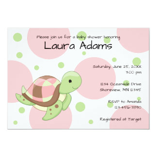 Invitations de baby shower de fille de tortue de