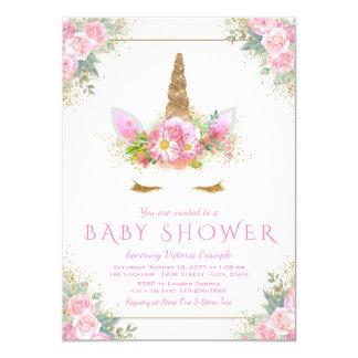 Invitations de baby shower de licorne de visage de