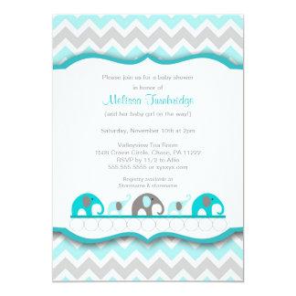 Invitations de baby shower d'éléphant de bleu et
