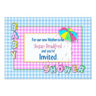INVITATIONS de BABY SHOWER - parapluie avec la
