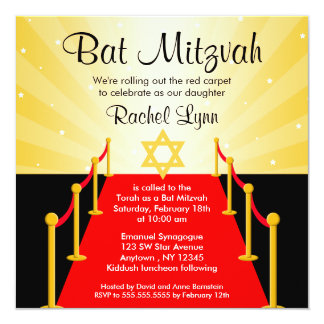 Invitations de bat mitzvah de Hollywood de tapis Carton D'invitation 13,33 Cm