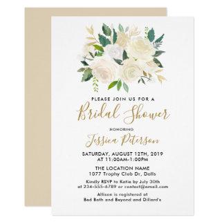 Invitations de BridalShower de fleurs blanches