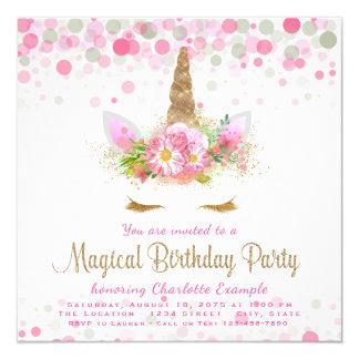 Invitations de fête d'anniversaire de licorne de