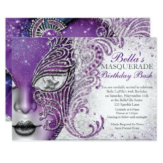 Invitations de fête d'anniversaire de mascarade