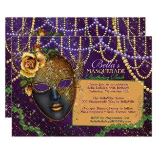 Invitations de fête d'anniversaire de mascarade de