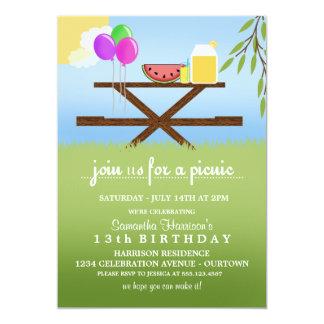 Invitations de fête d'anniversaire de pique-nique