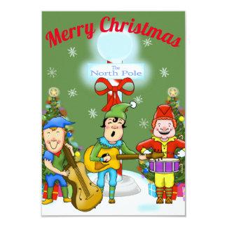 Invitations de fête de Noël d'elfes de musicien
